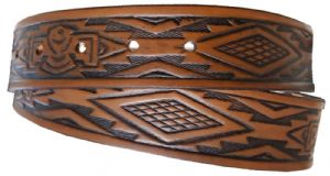 North American Indian Design Embossed Full Grain Leather Belt - 1½